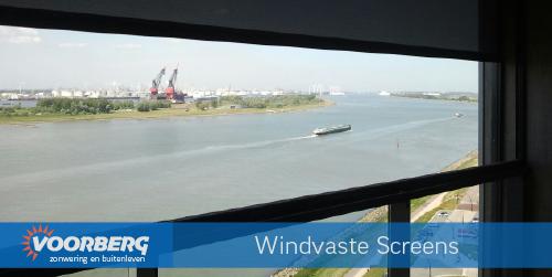 Windvaste screens Waterweg toren complex